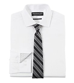 Nick Graham Men's Solid Fitted Dress Shirt With Striped Tie Set