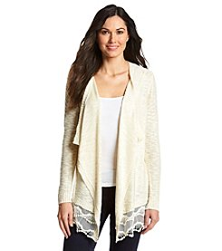 AGB® Cardigan With Lace Trim
