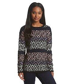 Relativity® Jacquard Eyelash Sweater