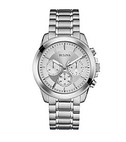 Bulova® Men's Stainless Steel Watch with White Dial