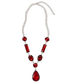 Studio Works® Red and Silvertone Faceted Pendant 18