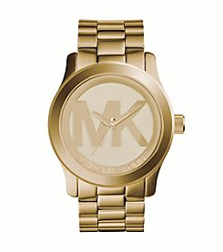 Michael Kors® Women's Goldtone Logo Runway Watch