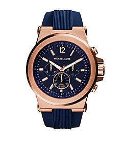 Michael Kors® Men's Rose Goldtone Dylan Watch with Navy Silicone Strap