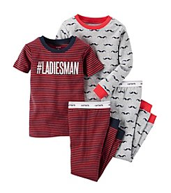Carter's® Boys' 12M-4T Four-Piece Ladies Man-Mustache Pjs