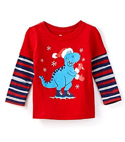 Cuddle Bear® Mix & Match Baby Boys' Long Sleeve Dino Claus Graphic Skater Tee