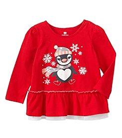 Cuddle Bear® Mix & Match Baby Girls' Ruffle Penguin Graphic T-Shirt
