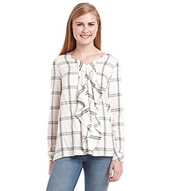 Kensie® Ruffle Plaid Shirt