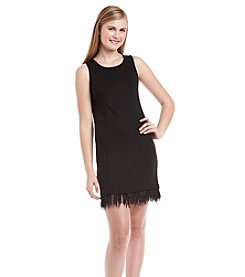 Kensie® Feather Trim Ponte Dress