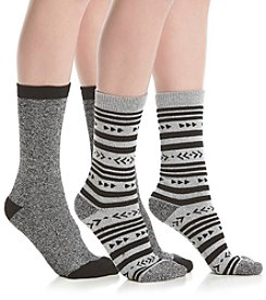 Steve Madden Two Pack Nordic Stripe Motif Boot Socks