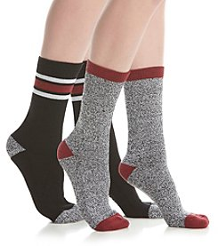 Steve Madden Two Pack Three Stripe Boot Socks