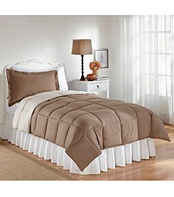 LivingQuarters Reversible Microfiber Down-Alternative Dune & Turtledove Comforter - Twin