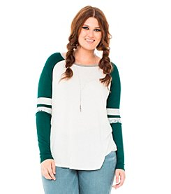 Living Doll Plus Size Varsity Vixen Colorblocked Raglan Tee