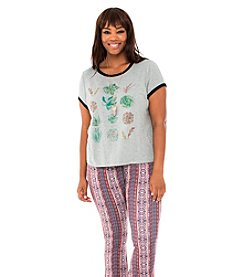 Living Doll Planted Paradise Graphic Ringer Tee
