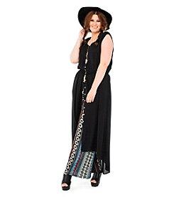 Living Doll Boho Border Babe Solid Maxi Dress