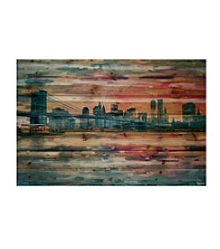 Parvez Taj Bridge at Dusk Art Print on Natural Pine Wood