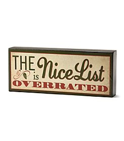 LivingQuarters Nice List Box Sign