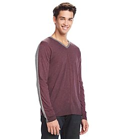 DKNY JEANS Men's Long Sleeve Slub Spray V-Neck Tee