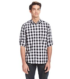 DKNY JEANS Men's Long Sleeve Roll Tab Herringbone Button Down