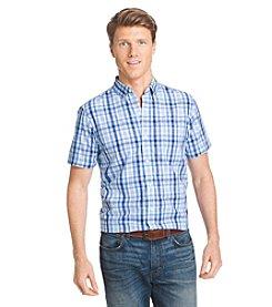 Izod® Men's Short Sleeve Seaside Poplin Plaid Button Down