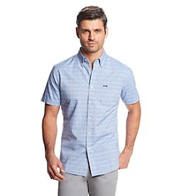 Le Tigre Men's Short Sleeve Horizontal Stripe Button Down
