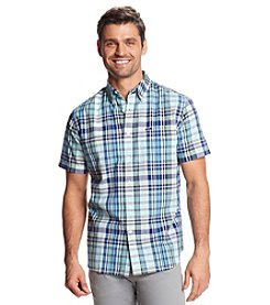 Le Tigre Men's Short Sleeve Madras Button Down