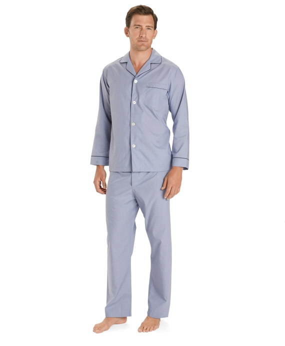 Wrinkle-Resistant Broadcloth Pajamas Blue