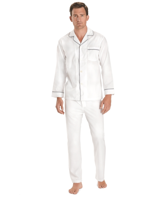 Wrinkle-Resistant Broadcloth Pajamas White