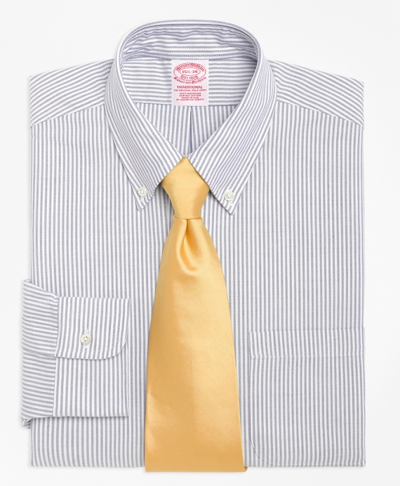 Traditional Fit Stripe Dress Shirt Blue