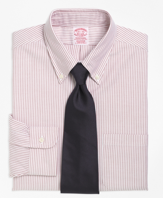 Traditional Fit Stripe Dress Shirt Burgundy