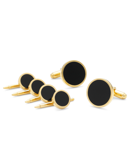 Onyx & Gold Stud Set