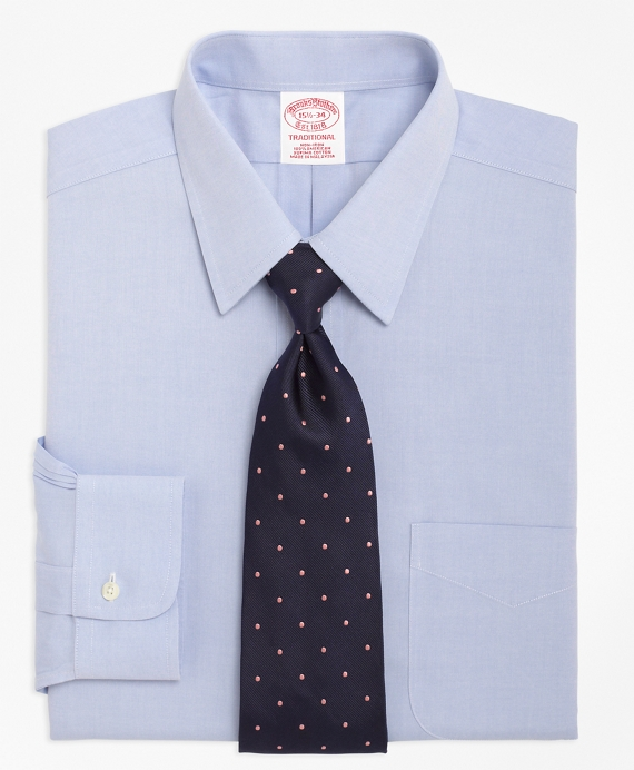 Non-Iron Traditional Fit Point Collar Dress Shirt Light Blue