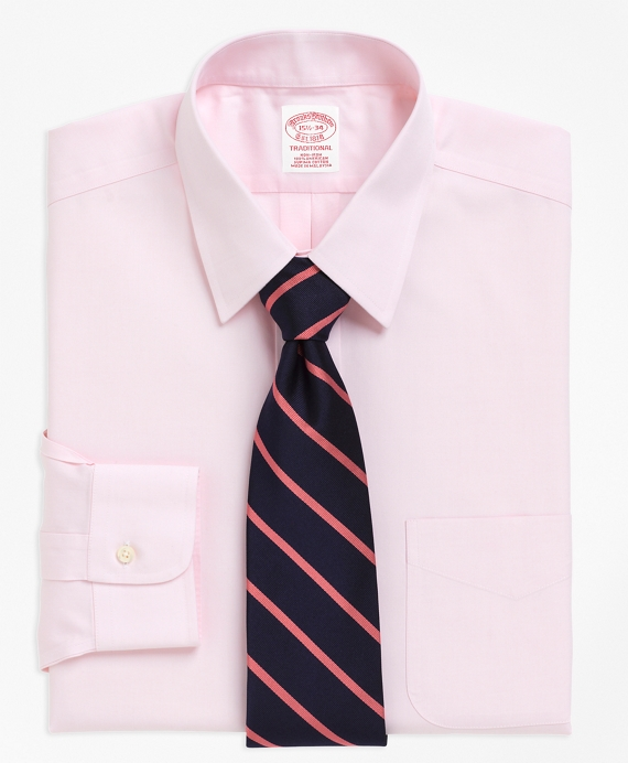 Non-Iron Traditional Fit Point Collar Dress Shirt Pink