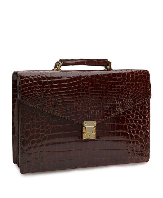 Alligator Billfold Briefcase Brown