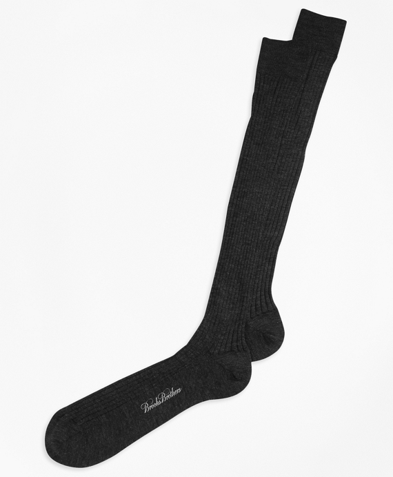 Merino Wool Ribbed Over-the-Calf Socks Black