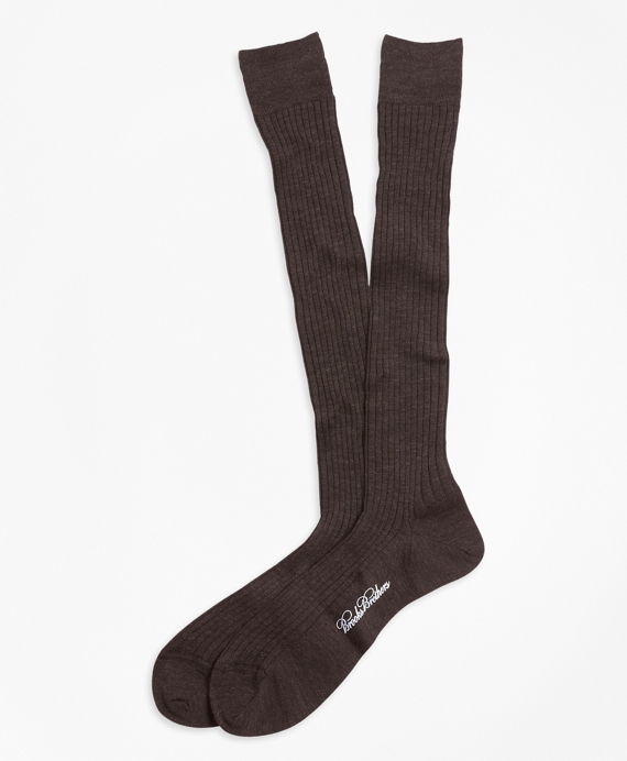 Merino Wool Ribbed Over-the-Calf Socks Med Brown