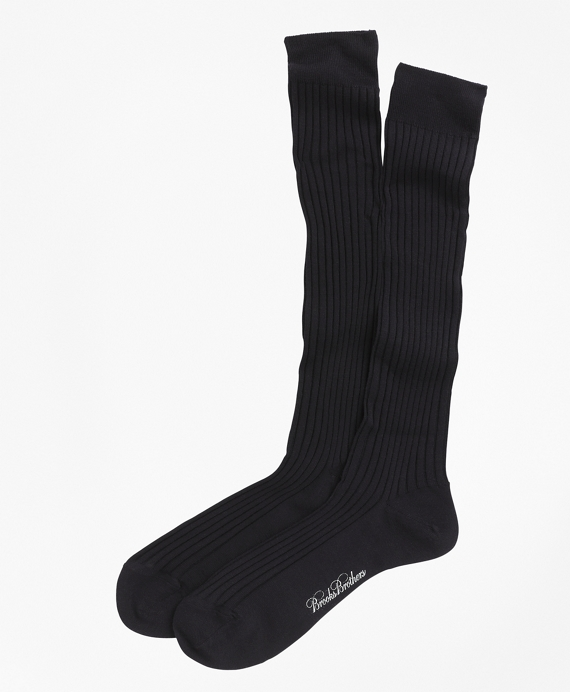 Merino Wool Ribbed Over-the-Calf Socks Navy