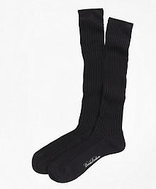 Merino Wool Ribbed Over-the-Calf Socks