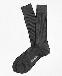 Merino Wool Ribbed Crew Socks