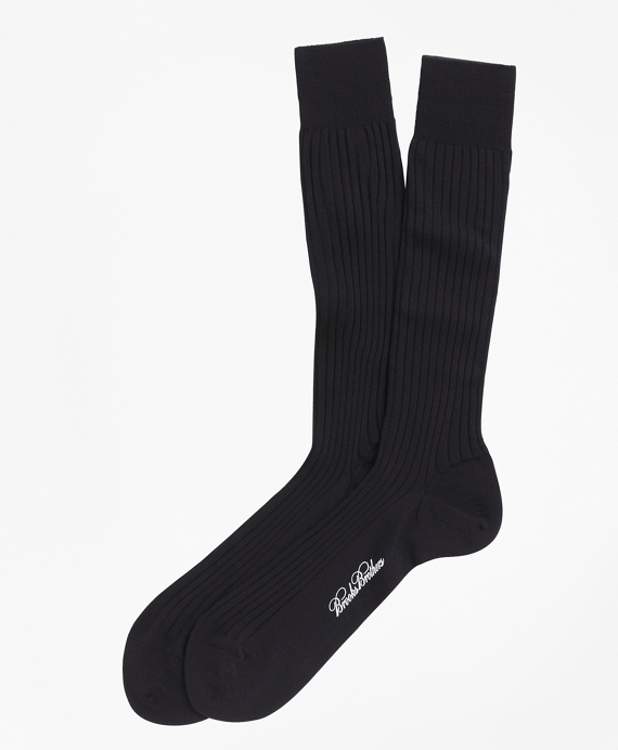 Merino Wool Ribbed Crew Socks Navy