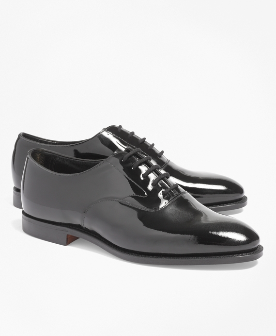 1920s Mens Evening Wear Step By Step Black Patent Lace-Ups $398.00 AT vintagedancer.com