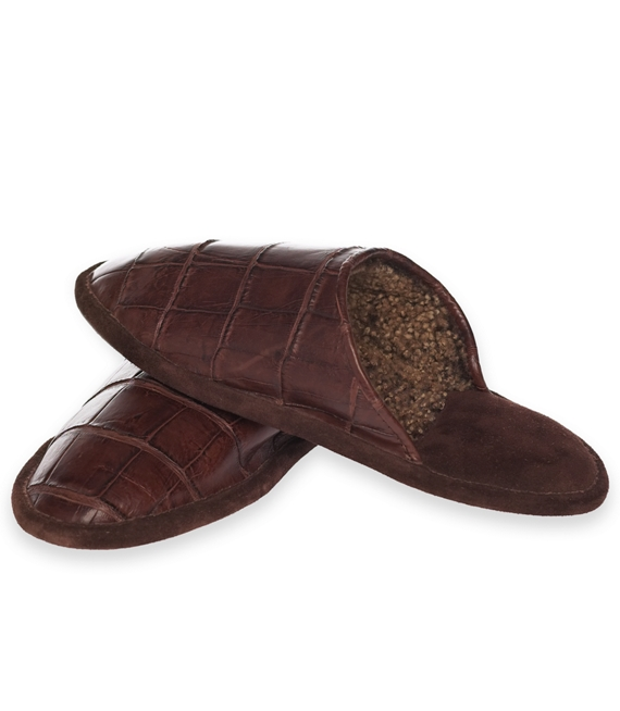 Crocodile Slippers Brown