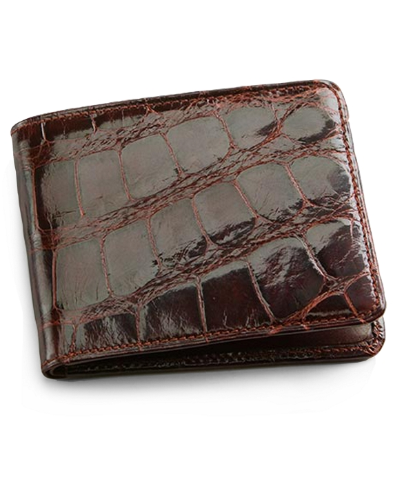 Alligator Card Case with Money Clip Brown