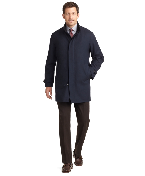 Wool Twill Traveler BrooksStorm® Coat Navy