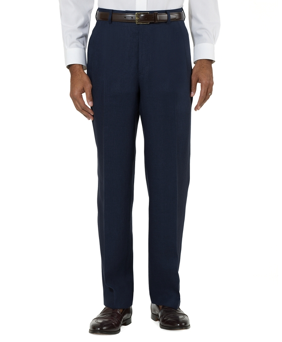 Irish Linen Plain-Front Trousers Navy