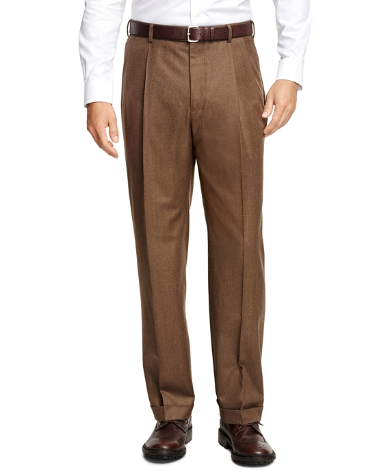 Madison Fit Pleat-Front Flannel Trousers Birch