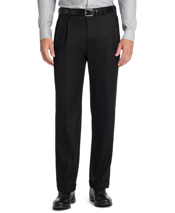 Madison Fit Pleat-Front Flannel Trousers Black