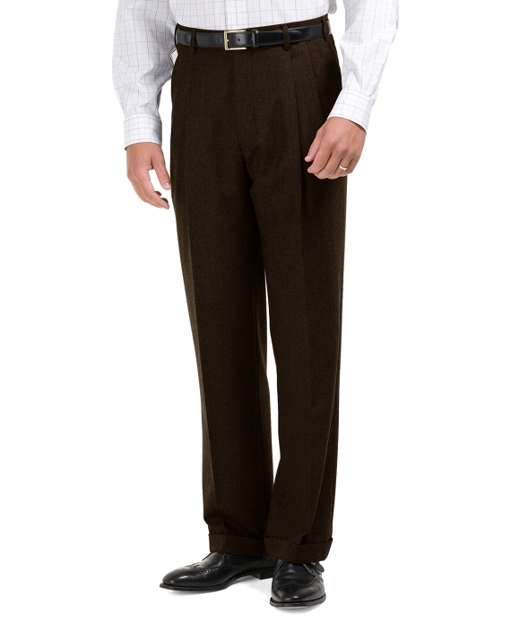 Madison Fit Pleat-Front Flannel Trousers Brown