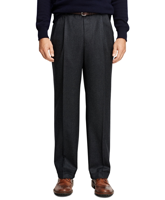 Madison Fit Pleat-Front Flannel Trousers Charcoal
