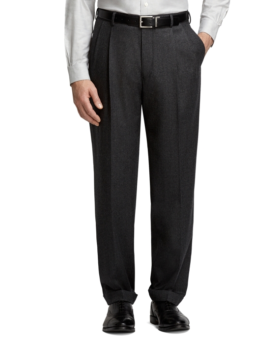 Madison Fit Pleat-Front Flannel Trousers Grey