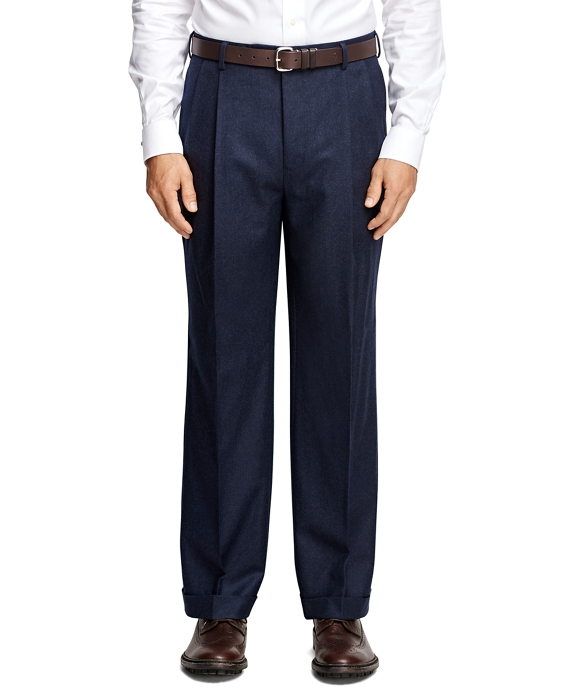 Madison Fit Pleat-Front Flannel Trousers Navy